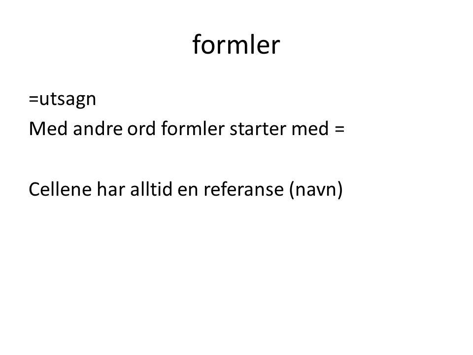 formler =utsagn Med andre ord formler starter med = Cellene har alltid en referanse (navn)
