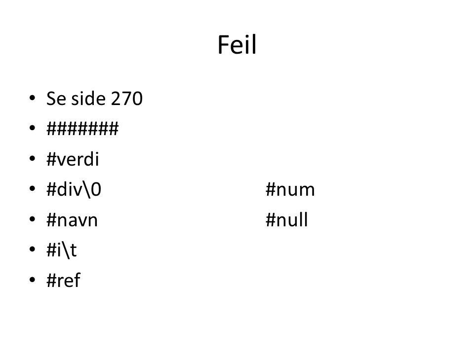 Feil Se side 270 ####### #verdi #div\0#num #navn#null #i\t #ref