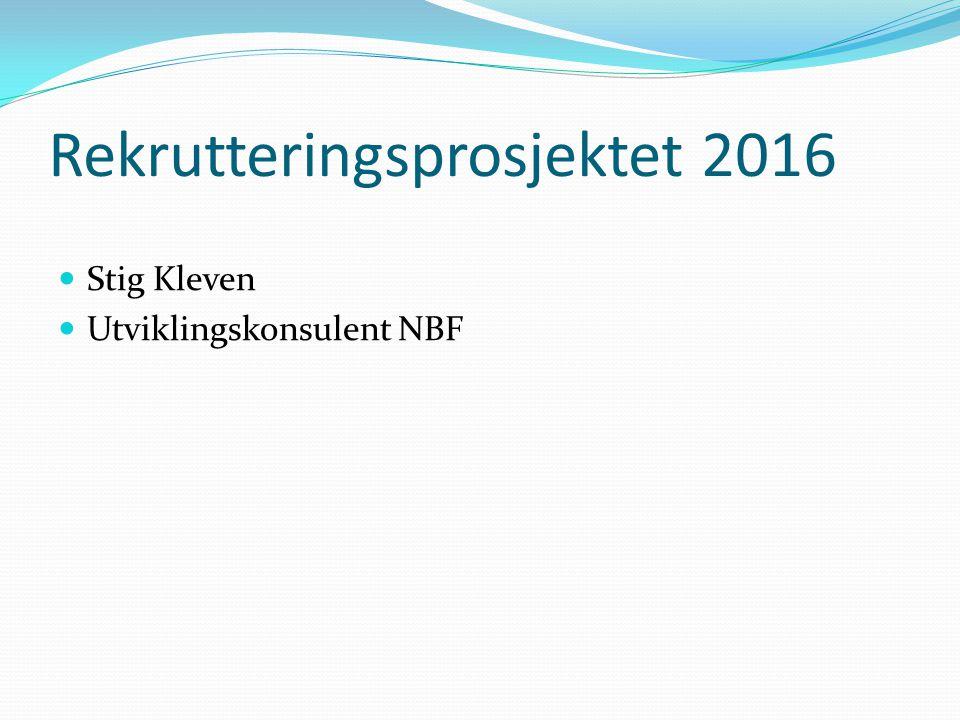 Rekrutteringsprosjektet 2016 Stig Kleven Utviklingskonsulent NBF