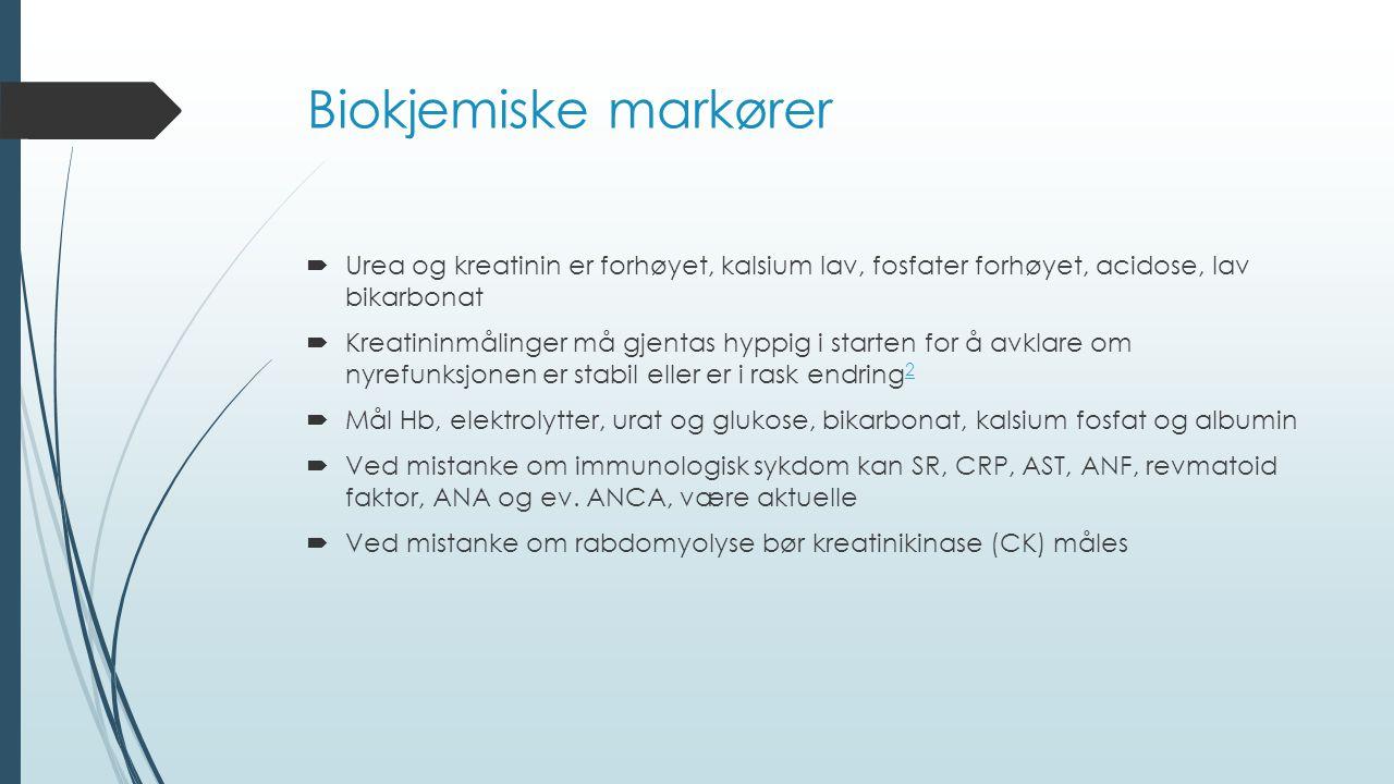 Biokjemiske markører  Urea og kreatinin er forhøyet, kalsium lav, fosfater forhøyet, acidose, lav bikarbonat  Kreatininmålinger må gjentas hyppig i