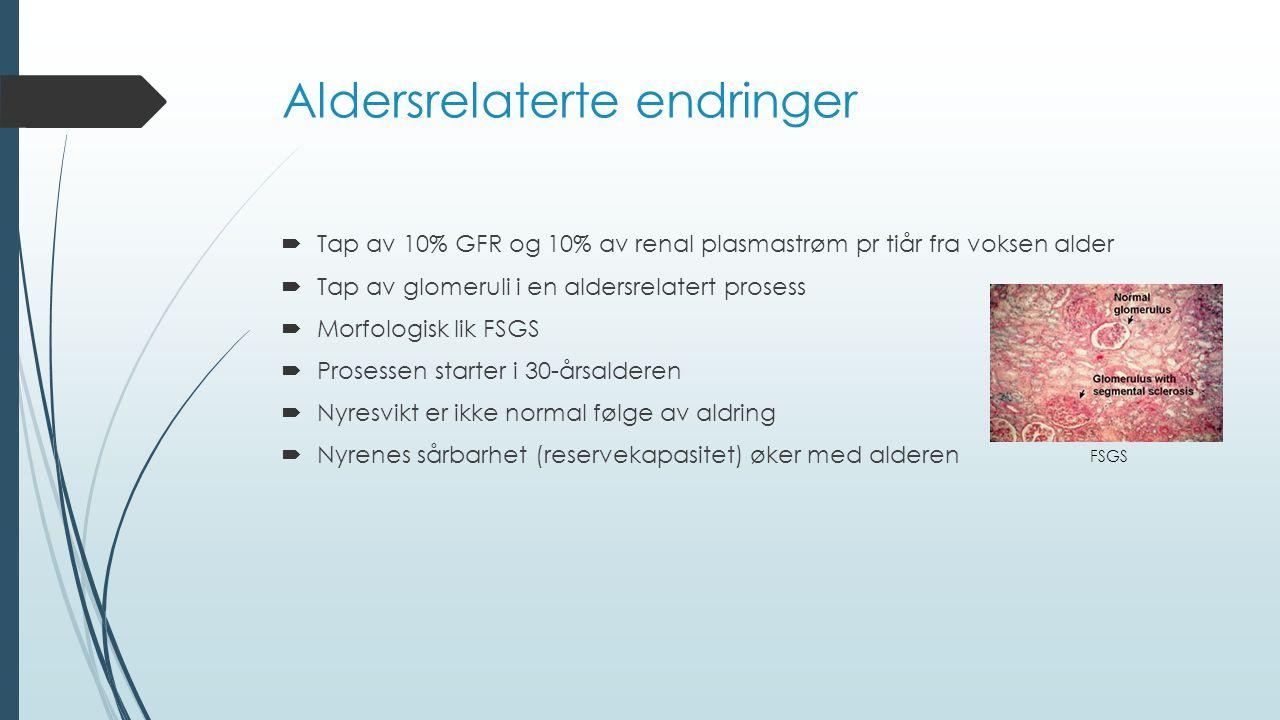 Aldersrelaterte endringer  Tap av 10% GFR og 10% av renal plasmastrøm pr tiår fra voksen alder  Tap av glomeruli i en aldersrelatert prosess  Morfo