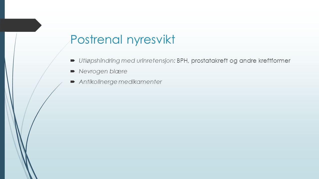 Postrenal nyresvikt  Utløpshindring med urinretensjon: BPH, prostatakreft og andre kreftformer  Nevrogen blære  Antikolinerge medikamenter