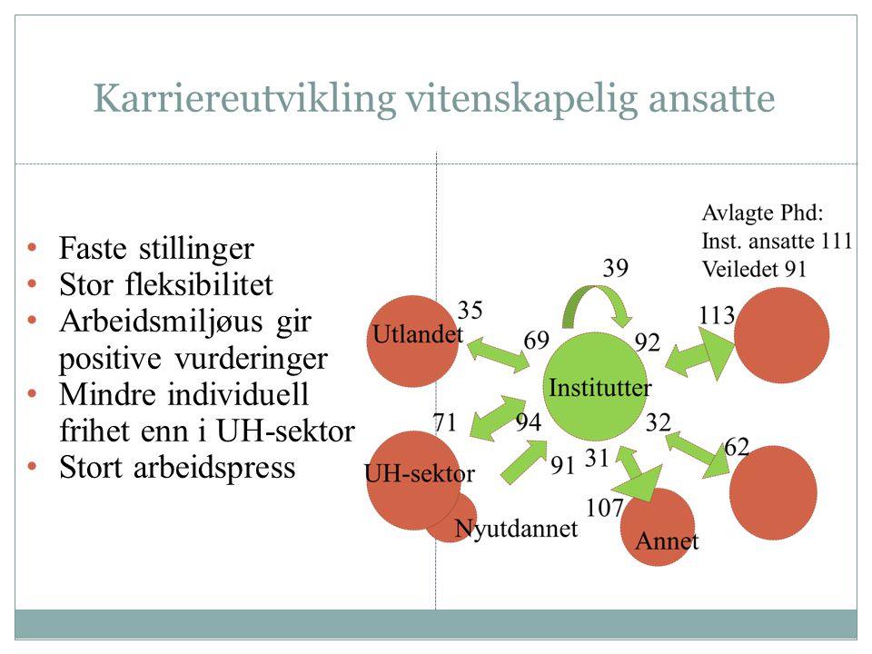Karriereutvikling vitenskapelig ansatte Faste stillinger Stor fleksibilitet Arbeidsmiljøus gir positive vurderinger Mindre individuell frihet enn i UH-sektor Stort arbeidspress