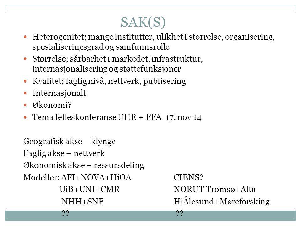 SAK(S) Heterogenitet; mange institutter, ulikhet i størrelse, organisering, spesialiseringsgrad og samfunnsrolle Størrelse; sårbarhet i markedet, infrastruktur, internasjonalisering og støttefunksjoner Kvalitet; faglig nivå, nettverk, publisering Internasjonalt Økonomi.