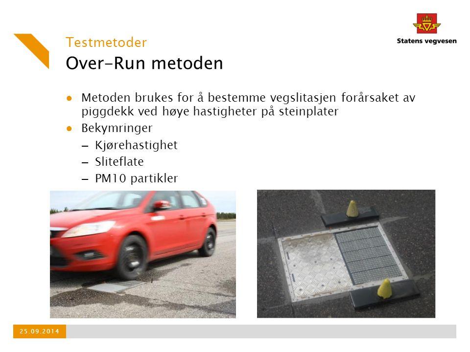 Over-Run metoden ● Metoden brukes for å bestemme vegslitasjen forårsaket av piggdekk ved høye hastigheter på steinplater ● Bekymringer – Kjørehastighe