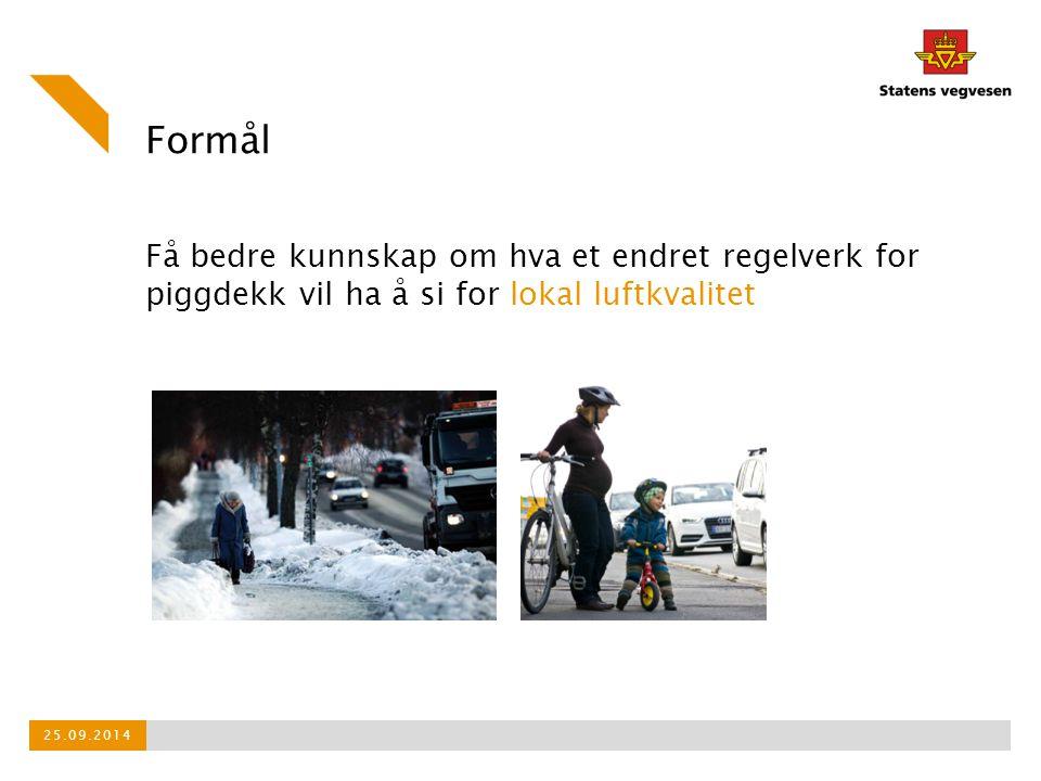 Formål Få bedre kunnskap om hva et endret regelverk for piggdekk vil ha å si for lokal luftkvalitet 25.09.2014