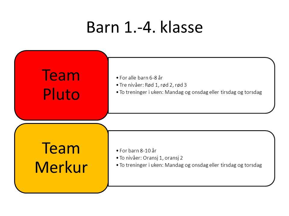 Barn 1.-4. klasse For alle barn 6-8 år Tre nivåer: Rød 1, rød 2, rød 3 To treninger i uken: Mandag og onsdag eller tirsdag og torsdag Team Pluto For b