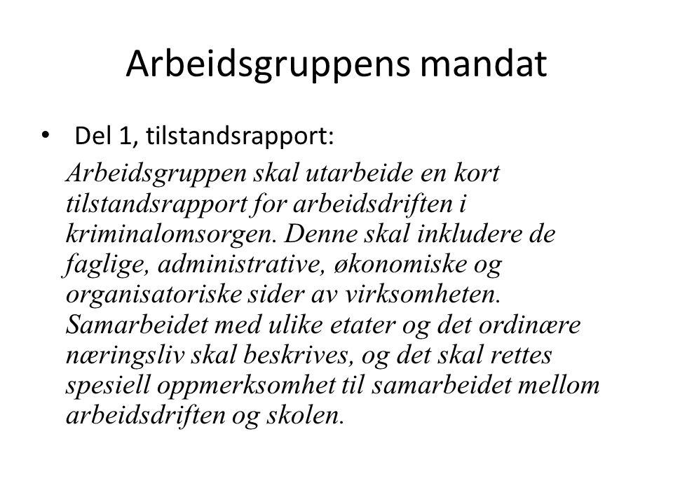 Arbeidsgruppens mandat Del 1, tilstandsrapport: Arbeidsgruppen skal utarbeide en kort tilstandsrapport for arbeidsdriften i kriminalomsorgen.