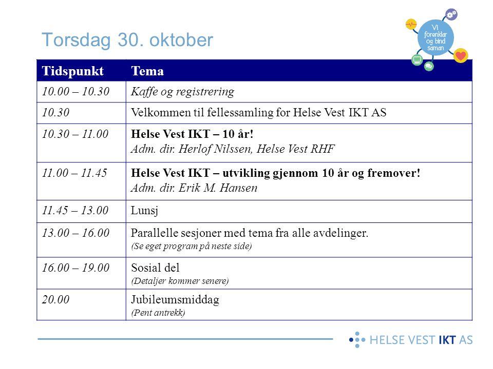 Torsdag 30. oktober TidspunktTema 10.00 – 10.30Kaffe og registrering 10.30Velkommen til fellessamling for Helse Vest IKT AS 10.30 – 11.00Helse Vest IK