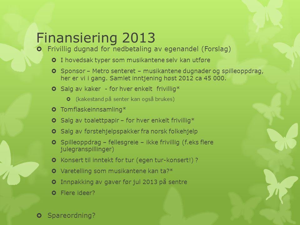 Finansiering 2013  Frivillig dugnad for nedbetaling av egenandel (Forslag)  I hovedsak typer som musikantene selv kan utføre  Sponsor – Metro senteret – musikantene dugnader og spilleoppdrag, her er vi i gang.