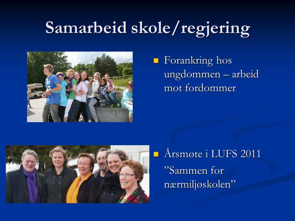 Samarbeid skole/regjering Forankring hos ungdommen – arbeid mot fordommer Årsmøte i LUFS 2011 Sammen for nærmiljøskolen