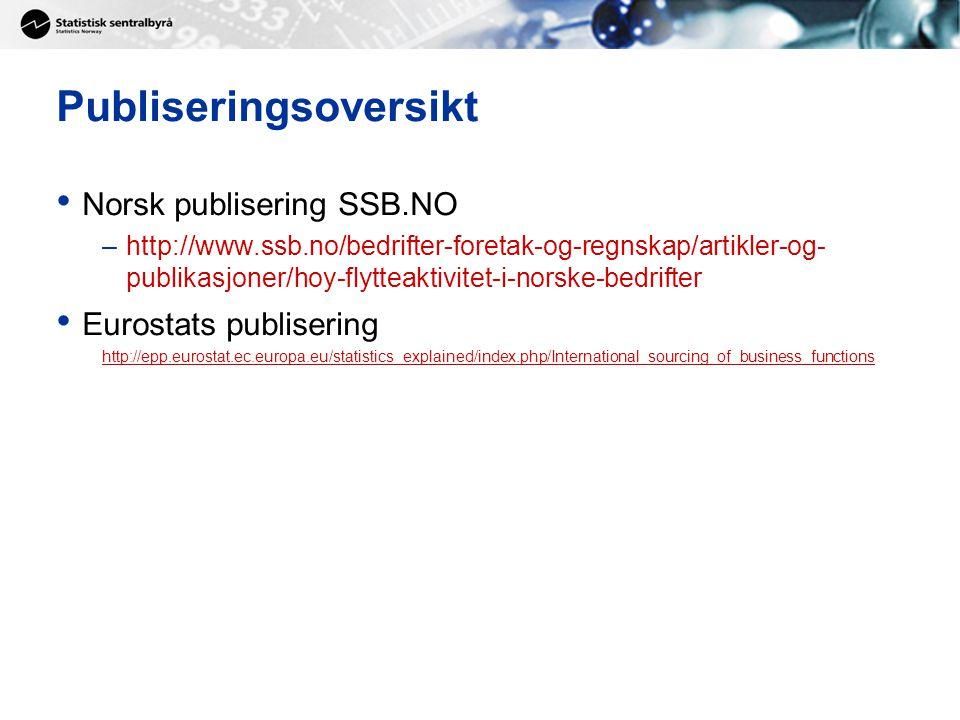 Publiseringsoversikt Norsk publisering SSB.NO –http://www.ssb.no/bedrifter-foretak-og-regnskap/artikler-og- publikasjoner/hoy-flytteaktivitet-i-norske