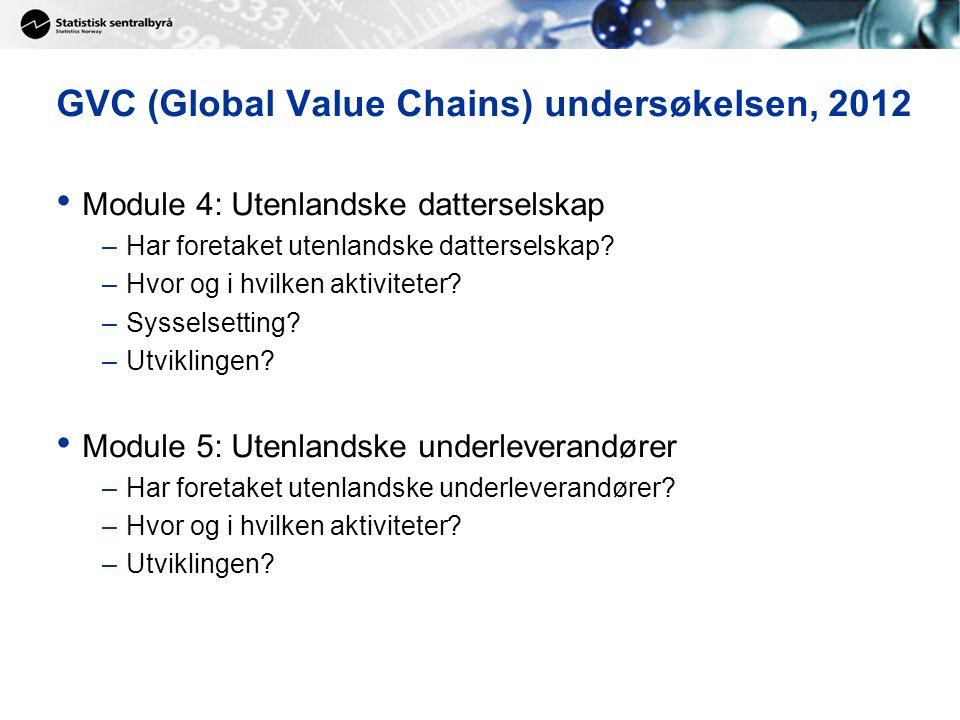GVC (Global Value Chains) undersøkelsen, 2012 Module 4: Utenlandske datterselskap –Har foretaket utenlandske datterselskap? –Hvor og i hvilken aktivit