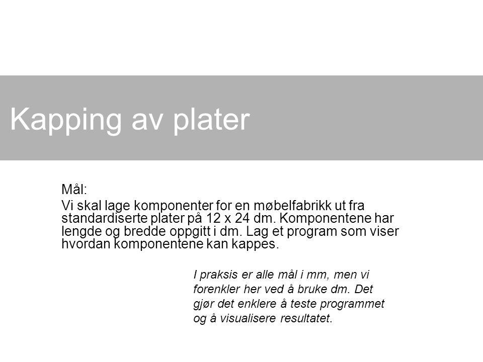 Kapping av plater Mål: Vi skal lage komponenter for en møbelfabrikk ut fra standardiserte plater på 12 x 24 dm. Komponentene har lengde og bredde oppg