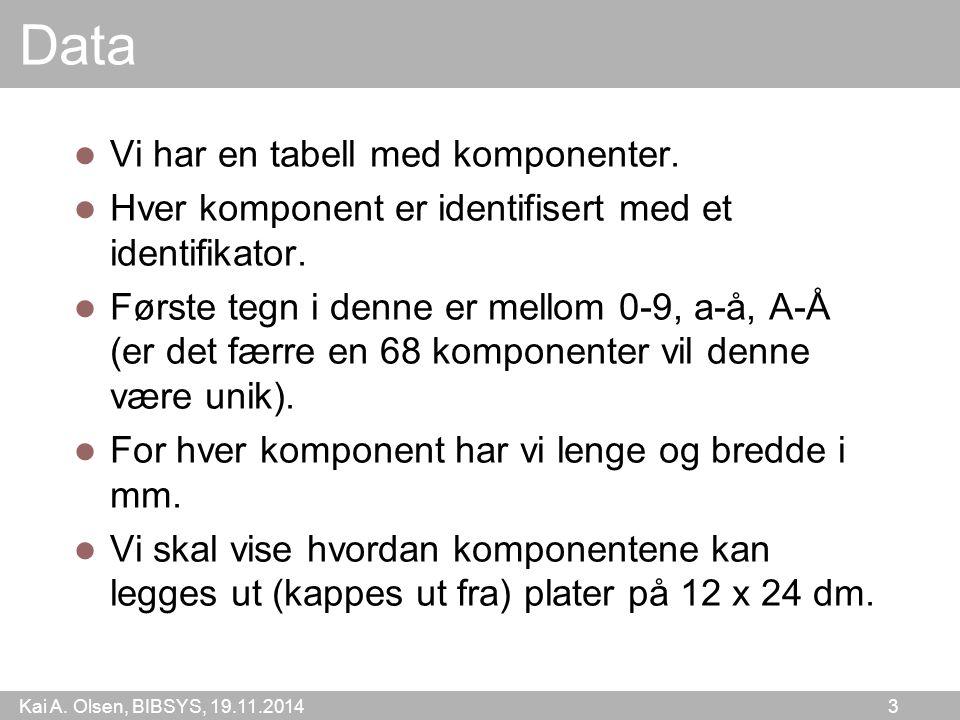 Kai A. Olsen, BIBSYS, 19.11.2014 3 Data Vi har en tabell med komponenter. Hver komponent er identifisert med et identifikator. Første tegn i denne er