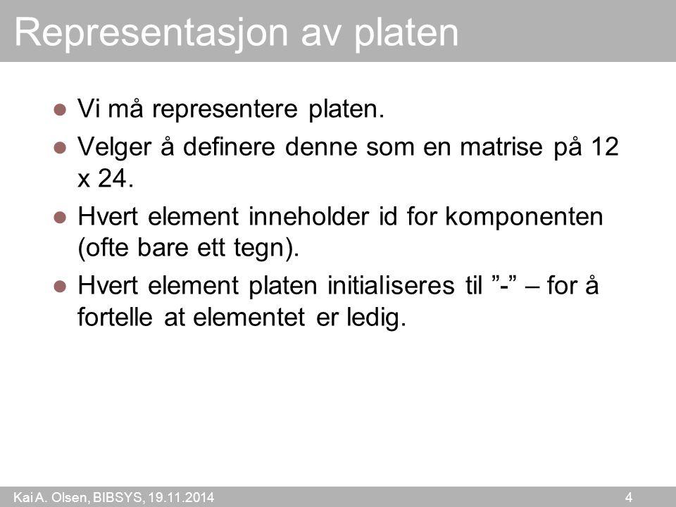 Kai A. Olsen, BIBSYS, 19.11.2014 4 Representasjon av platen Vi må representere platen. Velger å definere denne som en matrise på 12 x 24. Hvert elemen