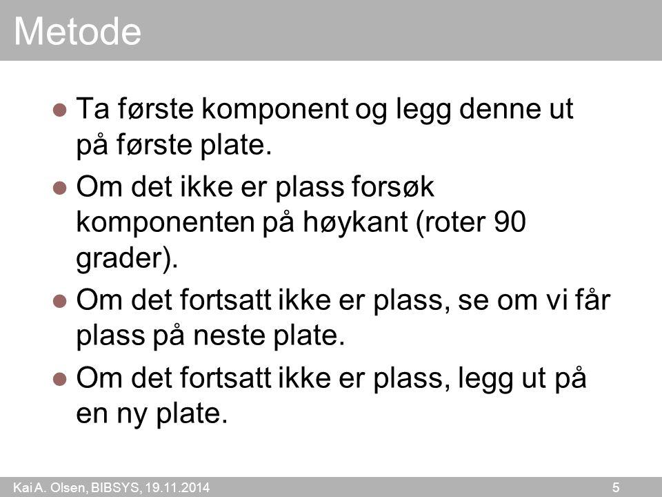 Kai A. Olsen, BIBSYS, 19.11.2014 5 Metode Ta første komponent og legg denne ut på første plate. Om det ikke er plass forsøk komponenten på høykant (ro