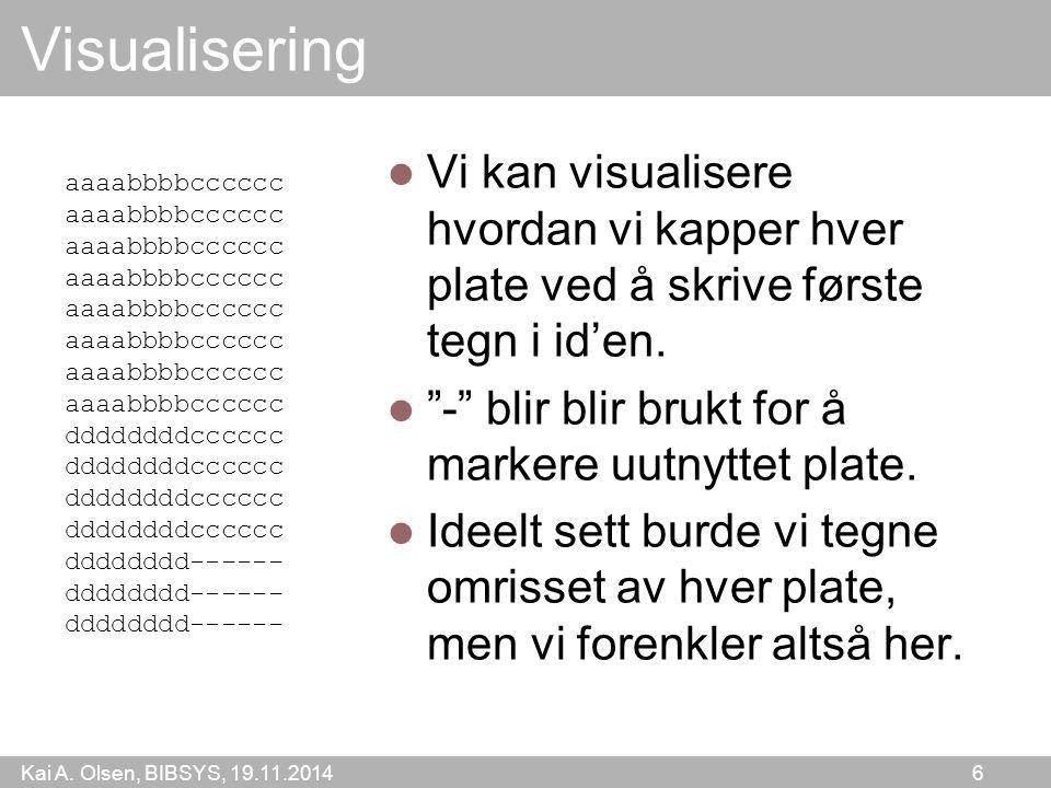 """Kai A. Olsen, BIBSYS, 19.11.2014 6 Visualisering Vi kan visualisere hvordan vi kapper hver plate ved å skrive første tegn i id'en. """"-"""" blir blir brukt"""