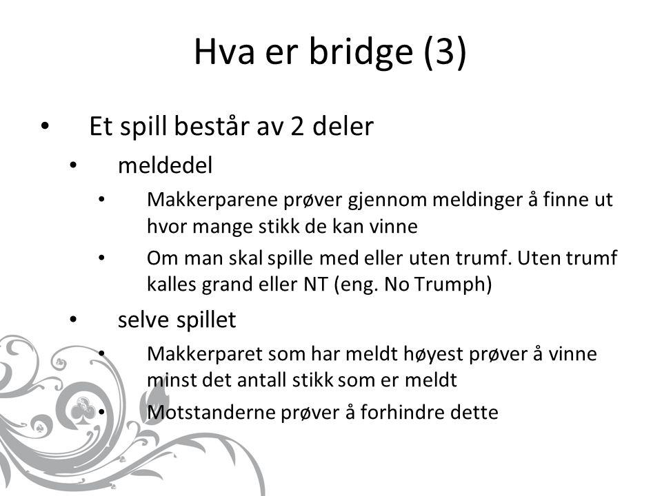 Hva er bridge (3) Et spill består av 2 deler meldedel Makkerparene prøver gjennom meldinger å finne ut hvor mange stikk de kan vinne Om man skal spille med eller uten trumf.