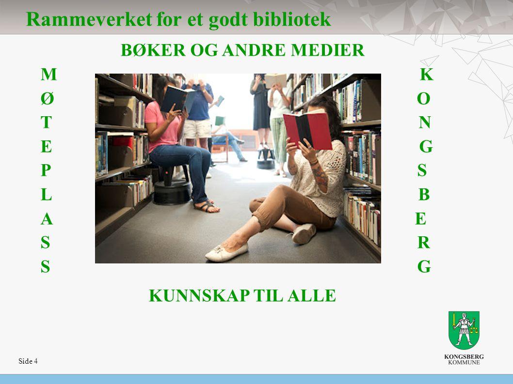 Side 4 Rammeverket for et godt bibliotek BØKER OG ANDRE MEDIER M K Ø O T N E G P S L B A E S R S G KUNNSKAP TIL ALLE