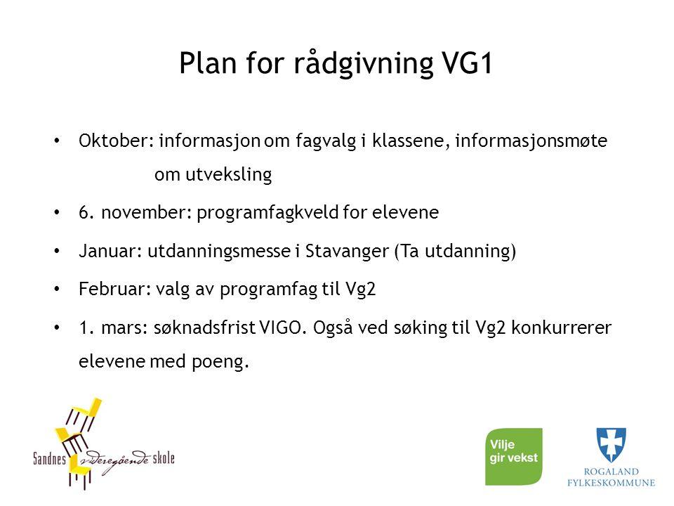Plan for rådgivning VG1 Oktober: informasjon om fagvalg i klassene, informasjonsmøte om utveksling 6. november: programfagkveld for elevene Januar: ut