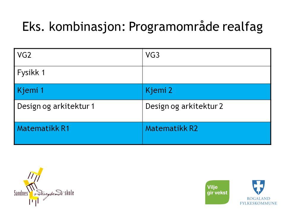 Eks. kombinasjon: Programområde realfag VG2VG3 Fysikk 1 Kjemi 1Kjemi 2 Design og arkitektur 1Design og arkitektur 2 Matematikk R1Matematikk R2