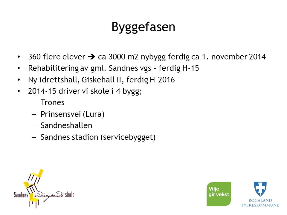 Byggefasen 360 flere elever  ca 3000 m2 nybygg ferdig ca 1. november 2014 Rehabilitering av gml. Sandnes vgs – ferdig H-15 Ny idrettshall, Giskehall
