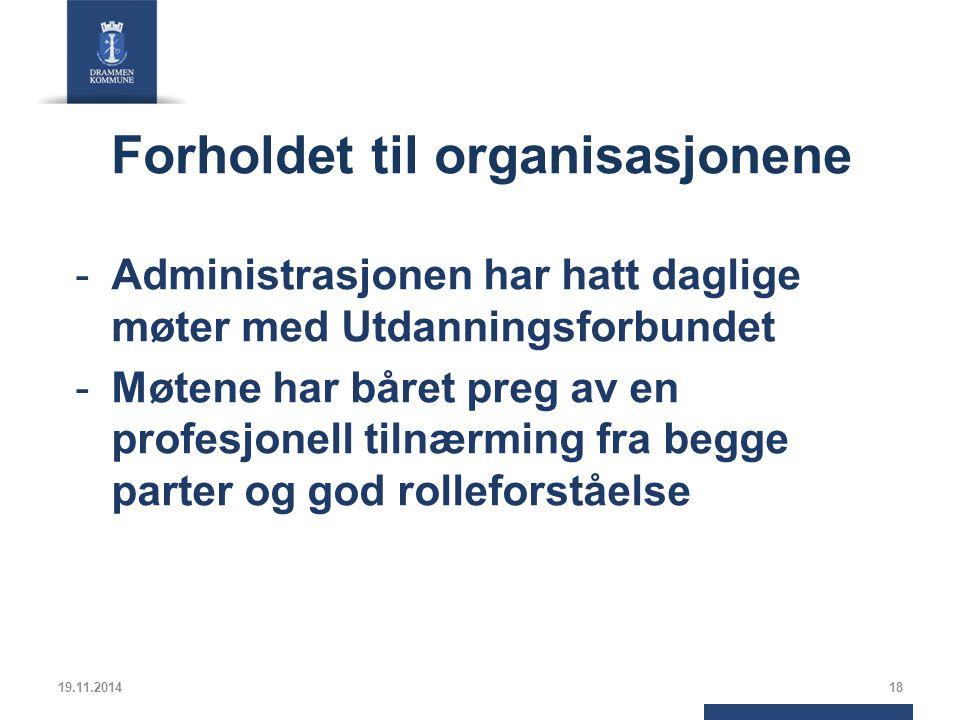 Forholdet til organisasjonene -Administrasjonen har hatt daglige møter med Utdanningsforbundet -Møtene har båret preg av en profesjonell tilnærming fra begge parter og god rolleforståelse 19.11.201418