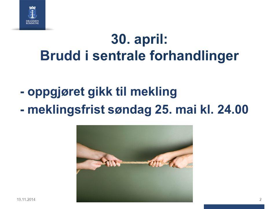 30. april: Brudd i sentrale forhandlinger - oppgjøret gikk til mekling - meklingsfrist søndag 25.