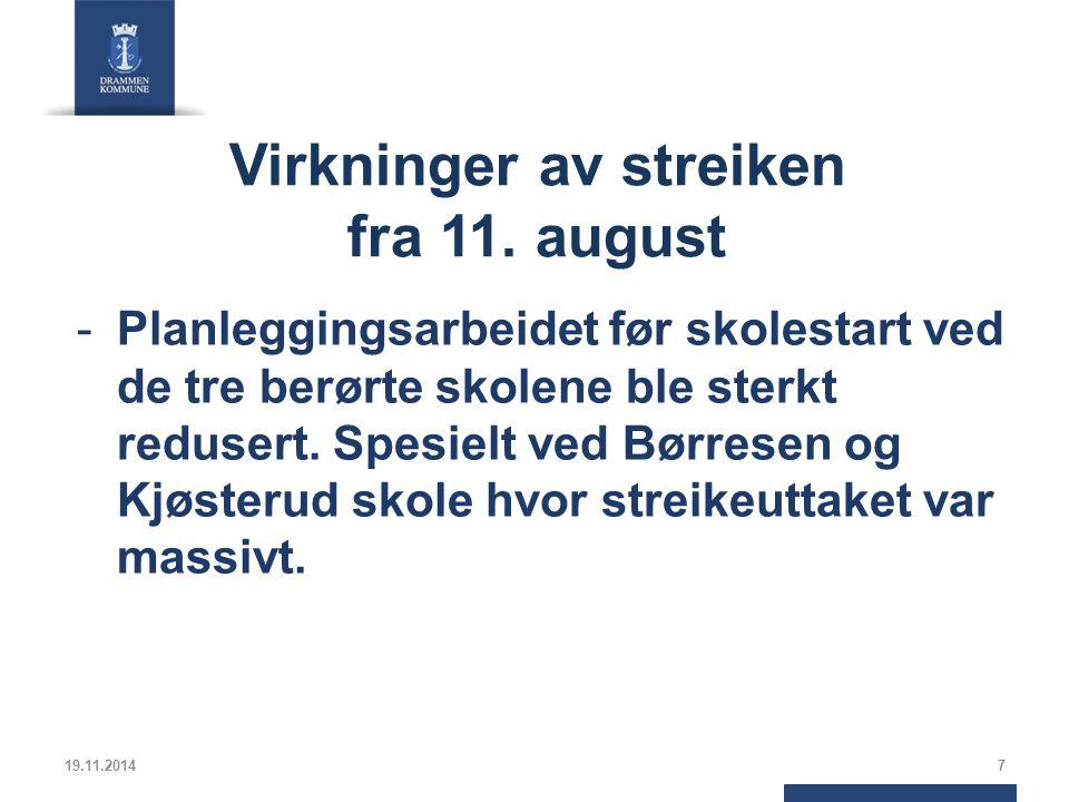 Virkninger av streiken fra 11.