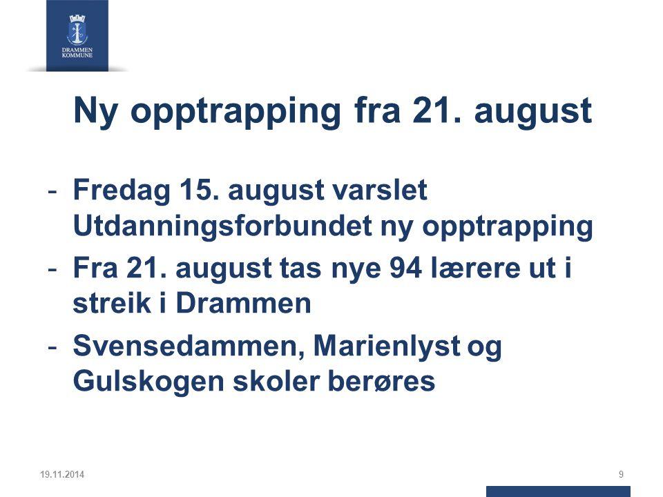 Ny opptrapping fra 21. august -Fredag 15.