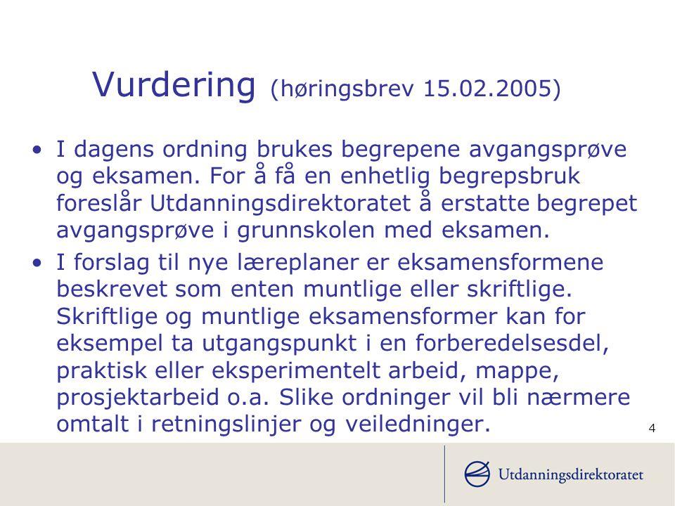 4 Vurdering (høringsbrev 15.02.2005) I dagens ordning brukes begrepene avgangsprøve og eksamen.