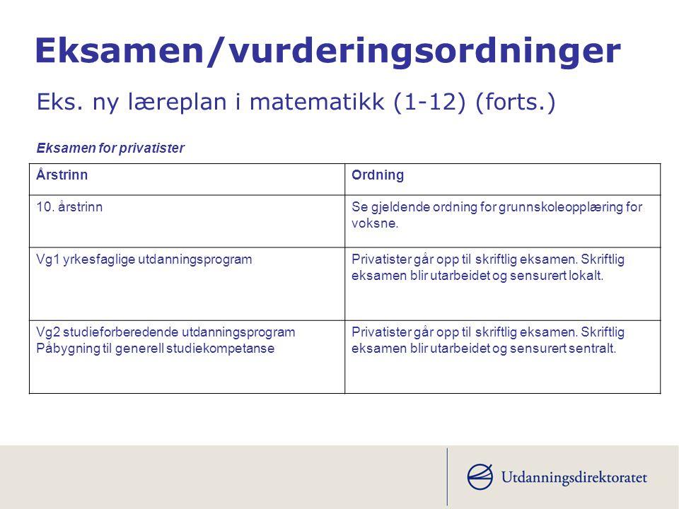 Eksamen/vurderingsordninger Eks. ny læreplan i matematikk (1-12) (forts.) ÅrstrinnOrdning 10.
