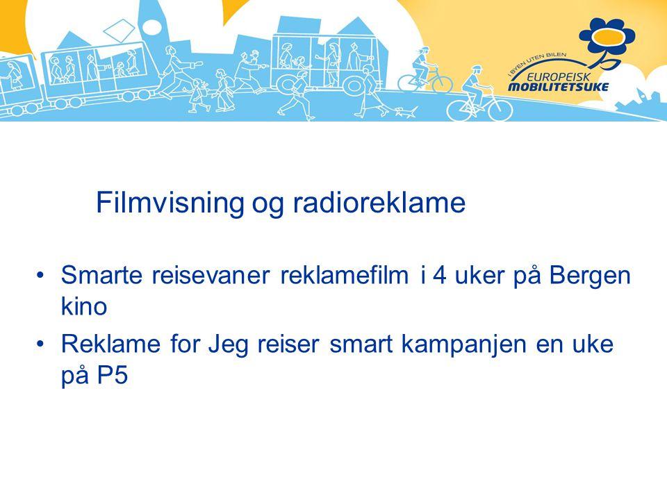 Filmvisning og radioreklame Smarte reisevaner reklamefilm i 4 uker på Bergen kino Reklame for Jeg reiser smart kampanjen en uke på P5