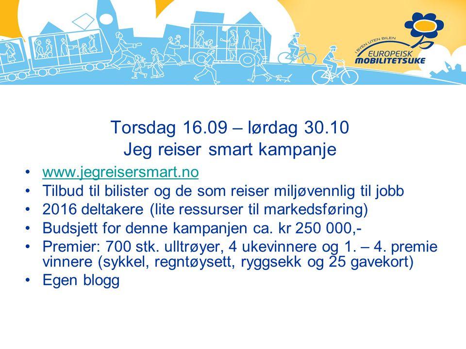 Torsdag 16.09 – lørdag 30.10 Jeg reiser smart kampanje www.jegreisersmart.no Tilbud til bilister og de som reiser miljøvennlig til jobb 2016 deltakere