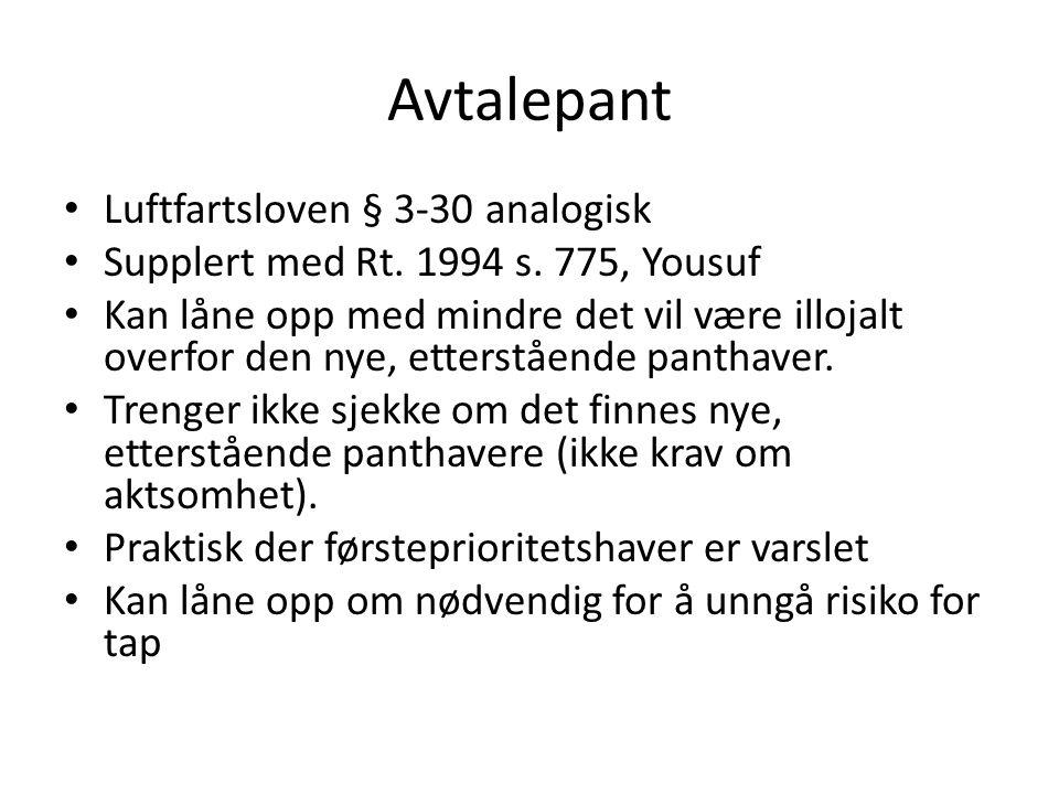 Avtalepant Luftfartsloven § 3-30 analogisk Supplert med Rt.