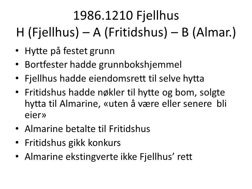 1986.1210 Fjellhus H (Fjellhus) – A (Fritidshus) – B (Almar.) Hytte på festet grunn Bortfester hadde grunnbokshjemmel Fjellhus hadde eiendomsrett til selve hytta Fritidshus hadde nøkler til hytte og bom, solgte hytta til Almarine, «uten å være eller senere bli eier» Almarine betalte til Fritidshus Fritidshus gikk konkurs Almarine ekstingverte ikke Fjellhus' rett