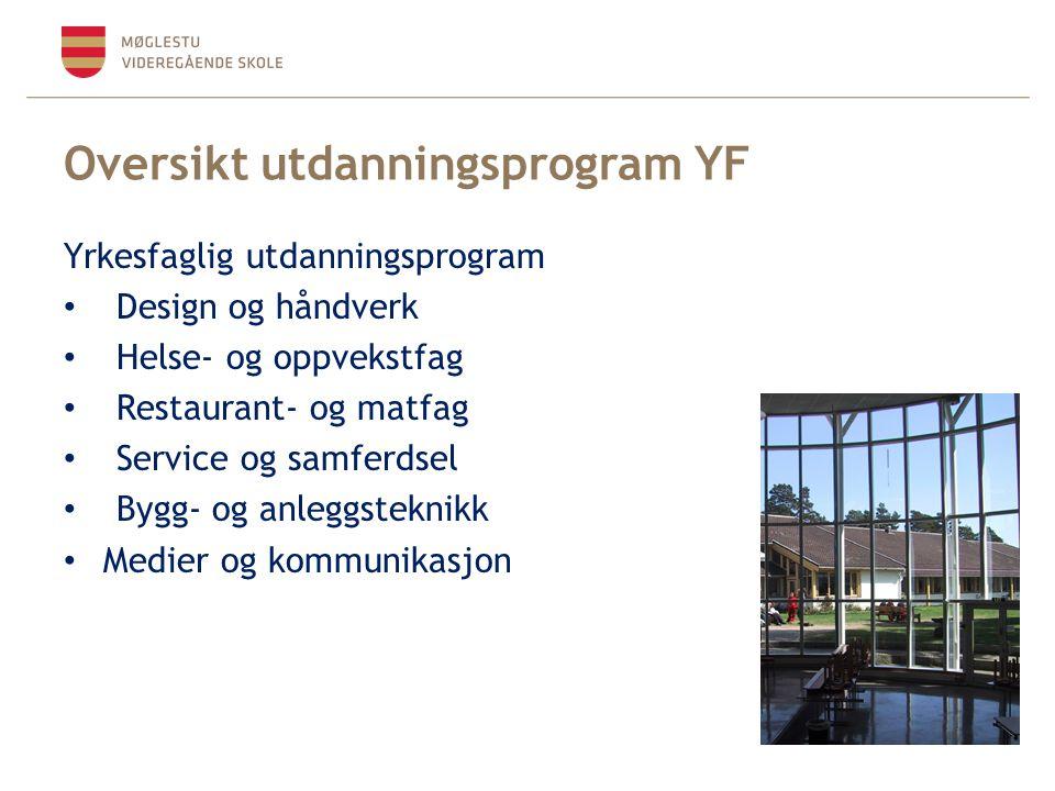 Oversikt utdanningsprogram YF Yrkesfaglig utdanningsprogram Design og håndverk Helse- og oppvekstfag Restaurant- og matfag Service og samferdsel Bygg-