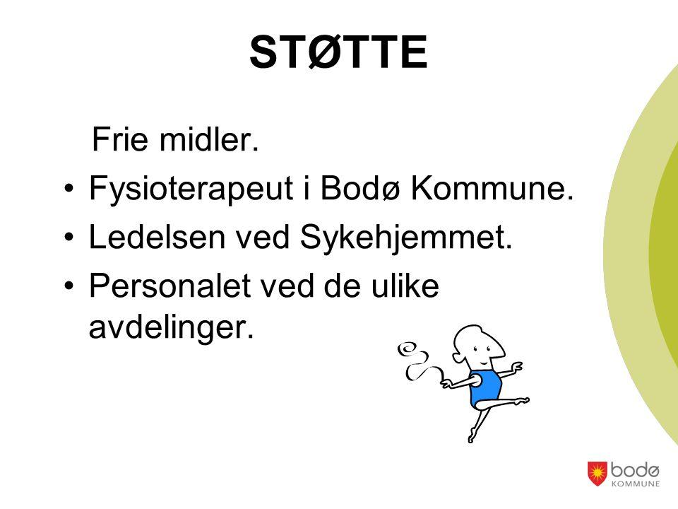 STØTTE Frie midler. Fysioterapeut i Bodø Kommune. Ledelsen ved Sykehjemmet. Personalet ved de ulike avdelinger.