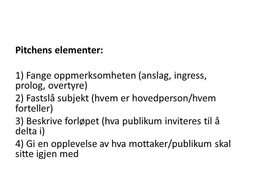 Pitchens elementer: 1) Fange oppmerksomheten (anslag, ingress, prolog, overtyre) 2) Fastslå subjekt (hvem er hovedperson/hvem forteller) 3) Beskrive f