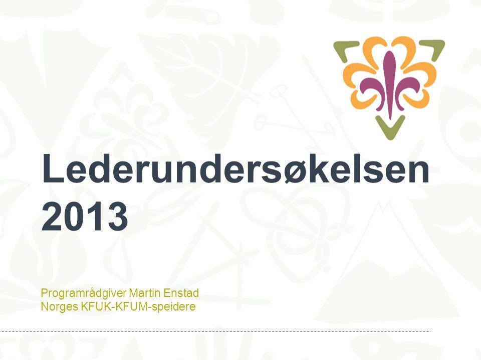 Lederundersøkelsen 2013 Programrådgiver Martin Enstad Norges KFUK-KFUM-speidere