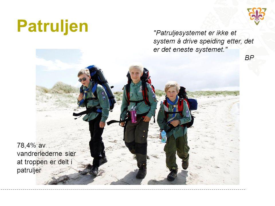 Patruljen Patruljesystemet er ikke et system å drive speiding etter, det er det eneste systemet. BP 78,4% av vandrerlederne sier at troppen er delt i patruljer