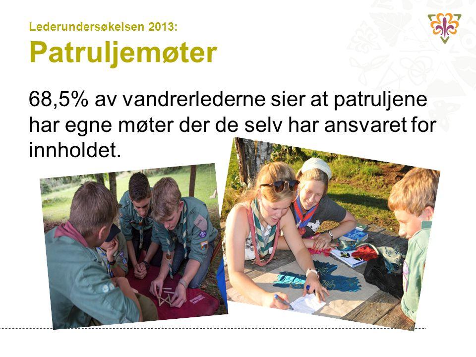 Lederundersøkelsen 2013: Patruljemøter 68,5% av vandrerlederne sier at patruljene har egne møter der de selv har ansvaret for innholdet.
