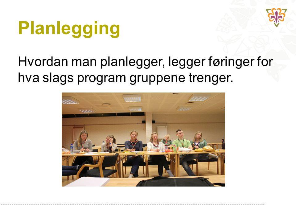 Planlegging Hvordan man planlegger, legger føringer for hva slags program gruppene trenger.
