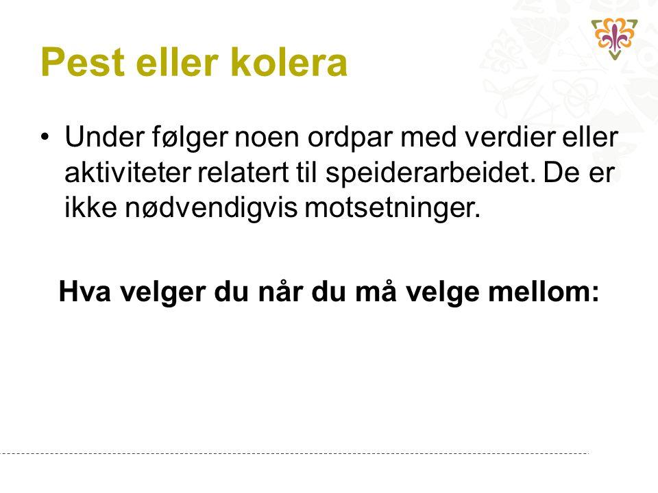 Pest eller kolera Under følger noen ordpar med verdier eller aktiviteter relatert til speiderarbeidet. De er ikke nødvendigvis motsetninger. Hva velge