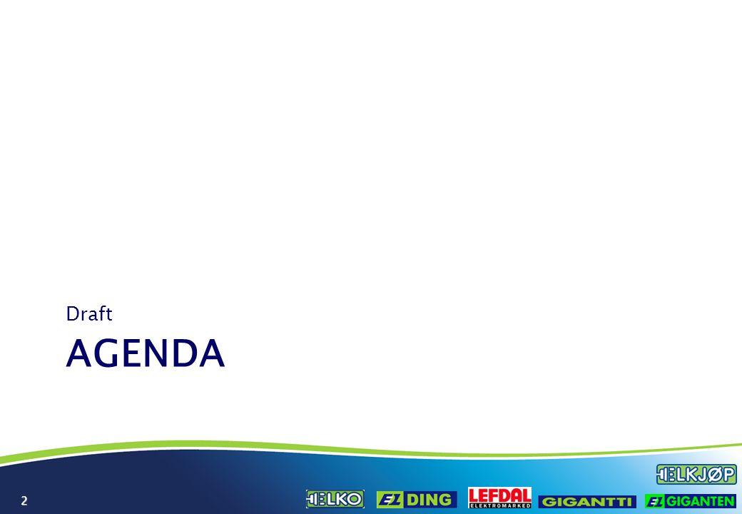 3 Agenda 0830INTRODUKSJON (Jaan Ivar Semlitsch?) 0900Presentasjon – Operations (Per Sigvarsson) 0930Presentasjon – Grossist/Innkjøp (?) 1000PAUSE 1015Presentasjon – Supply Chain (Eva Berger) 1045Presentasjon – Store Design (Hans Petter Døvre) 1115Presentasjon – Marketing (Mathias Håkansson) 1145LUNSJ 1245Presentasjon – Ecom (Trond Andersson) 1315Presentasjon – Aftersales (Lorentz Jacobsen) 1345Presentasjon – ECC (Marie Rudenstam) 1415PAUSE 1430Presentasjon – CRM (Atle Kirkeby) 1500Oppsummering & prioritering 1530Videre arbeid (Atle Kirkeby) 1600SLUTT