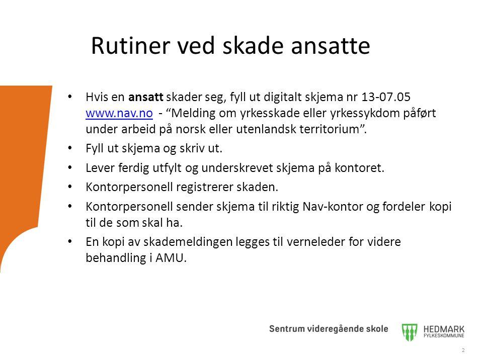 """2 Rutiner ved skade ansatte Hvis en ansatt skader seg, fyll ut digitalt skjema nr 13-07.05 www.nav.no - """"Melding om yrkesskade eller yrkessykdom påfør"""