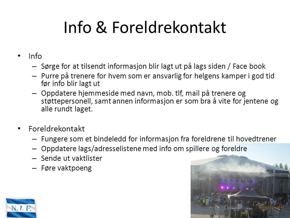 Info & Foreldrekontakt Info – Sørge for at tilsendt informasjon blir lagt ut på lags siden / Face book – Purre på trenere for hvem som er ansvarlig fo