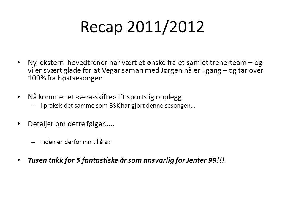 Recap 2011/2012 Ny, ekstern hovedtrener har vært et ønske fra et samlet trenerteam – og vi er svært glade for at Vegar saman med Jørgen nå er i gang –
