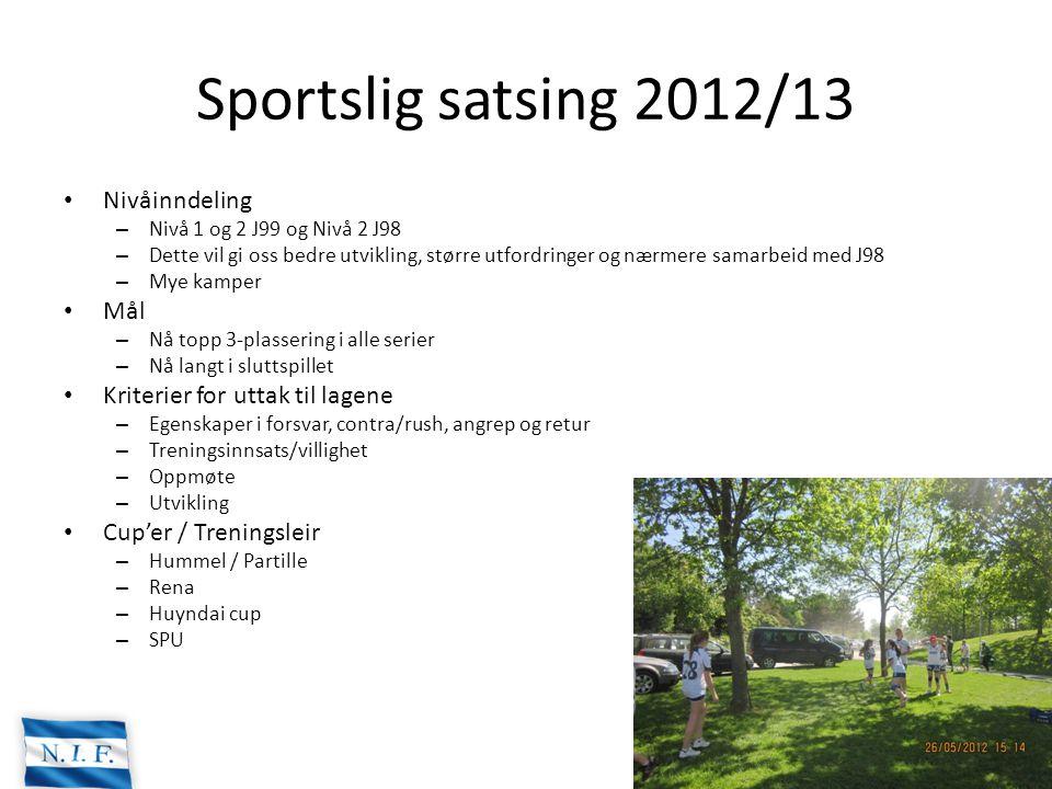 Sportslig satsing 2012/13 Nivåinndeling – Nivå 1 og 2 J99 og Nivå 2 J98 – Dette vil gi oss bedre utvikling, større utfordringer og nærmere samarbeid m